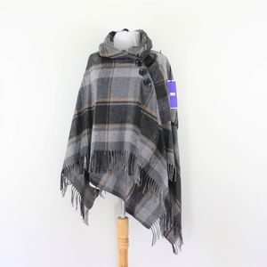 New Italy Wool Poncho Wrap Plaid Black Gray Tan OS